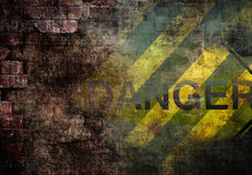 Underground grunge background. With danger sign Royalty Free Stock Images