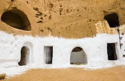 Underground House of trogladites in the desert of Tunisia Royalty Free Stock Photography
