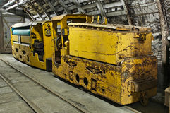 Underground industrial train in mine Stock Photos
