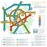 Underground Infographic With Lines Of Metro On City Map Stock Images