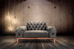 Underground Interior. Luxury armchair in underground ambient Royalty Free Stock Photo