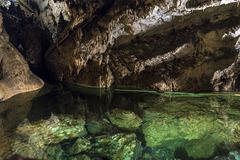 Underground lake in the Demanovska Cave of Liberty. Underground lake and stalagmites in the Demanovska Cave of Liberty, Slovakia Stock Photos