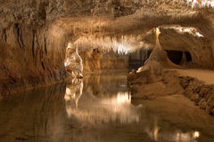 Underground lake in a grotto Royalty Free Stock Photography