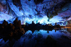 Underground lake in Reed Flute Caves in Guilin  ,China Stock Photography