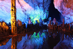 Underground lake in Reed Flute Caves in Guilin, China Royalty Free Stock Photo