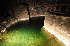 Underground lake in Wieliczka salt mines Royalty Free Stock Photo