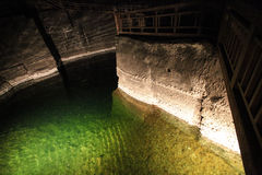 Underground lake in Wieliczka salt mines Stock Photos