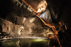 Underground lake in Wieliczka salt mines Stock Photo