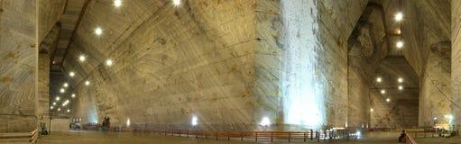 Panoramic view of Unirea Salt Mine located in Slanic, Prahova County, Romania. Underground landscape of the Unirea Salt Mine, an old salt mine located in Slanic Stock Photos
