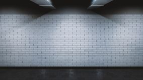 Underground Metro Brick Wall - 3D Rendering. Made in Blender. Grunge. 3 lights. Climatic. White Bricks Royalty Free Stock Photos