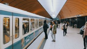 Underground metro in Munich. The train arrives at the station stock video footage