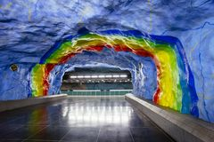 Underground metro Stadion station with rainbow design painting in Stockholm, Sweden dedicated t. STOCKHOLM, SWEDEN - March 5, 2017: Underground metro Stadion Stock Images