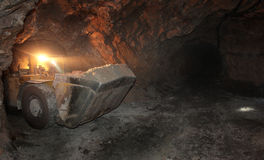 Underground mine. Heading machine in underground mine Royalty Free Stock Image