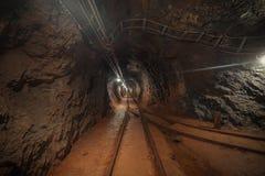 Underground mine passage angle shot royalty free stock photo