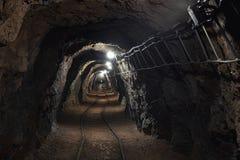 Underground mine passage angle shot stock photos