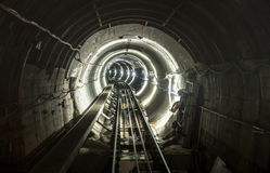 Underground Mine Pit Tunnel Gallery With Working Rail Tracks Royalty Free Stock Photos