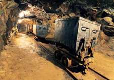Underground mine tunnel, mining industry stock photography