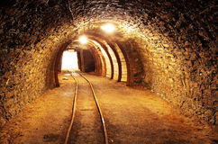 Underground mine tunnel, mining industry.  Stock Photos