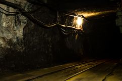 Underground mining tunnel with rails. And light Royalty Free Stock Image