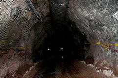 Underground Mining Tunnel. Supported by Mesh Stock Image