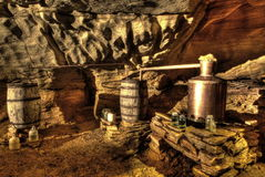 Underground Moonshine. A reconstructed moonshine still found inside a cave stock photos