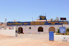 Signboards for underground motel accommodation, Coober Pedy, South Australia. Underground motel accommodation and backpackers inn in opal mining town Coober Pedy royalty free stock photos