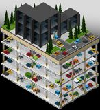 Underground multi storey car park. Vector isometric illustration of a urban infrastructure consisting of underground multi storey car park Stock Image