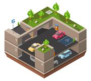 Parking lot isometric 3D vector illustration for construction design of cars, parkomat checkpoint and direction marking royalty free illustration