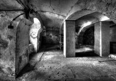 The underground. The mysterious dark cellar under the old Fabrik Royalty Free Stock Images