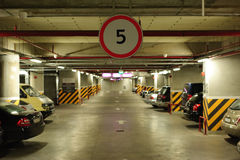Underground parking. In the basement of a mall Royalty Free Stock Image