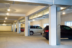 Underground parking. With some cars in it Royalty Free Stock Image