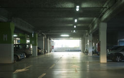 Underground parking. Cars parked in the underground parking Stock Image