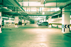 Underground parking. Night view of modern underground parking Royalty Free Stock Photo