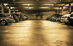 Underground parking. With cars. Sepia tint Stock Photo