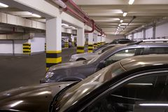 Underground parking. In apartment house in Moscow Royalty Free Stock Photo