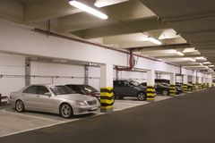 Underground parking. In apartment house in Moscow Stock Image