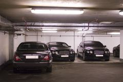 Underground parking. In apartment house in Moscow Stock Images