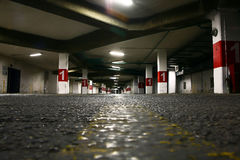 Underground parking. Road point of view of an underground parking Royalty Free Stock Images