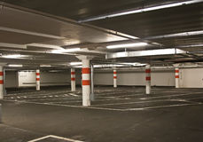 Underground parking. In a shopping center Stock Photography