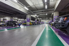 Underground parking aisle Royalty Free Stock Photography