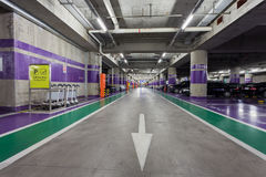 Underground parking aisle Stock Photos