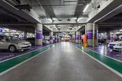 Underground parking aisle Royalty Free Stock Photos