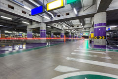 Underground parking aisle Stock Photography