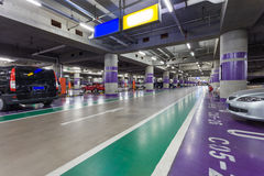 Underground parking aisle. In airport Stock Photography