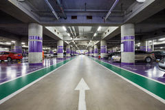 Underground parking aisle Royalty Free Stock Photos