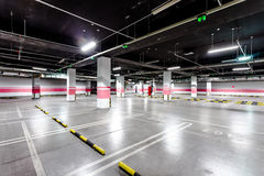 Underground parking aisle Stock Photography