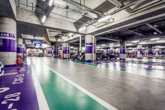 Underground parking aisle Stock Image