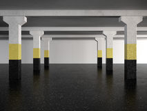 Underground parking area. 3d render Royalty Free Stock Photography