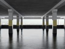 Underground parking area with windows. 3d render Stock Photos