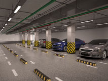 underground parking with cars. Stock Photos